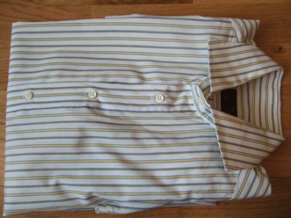 ETRO Single Cuff White Blue Yellow Striped Shirt 39 15 34